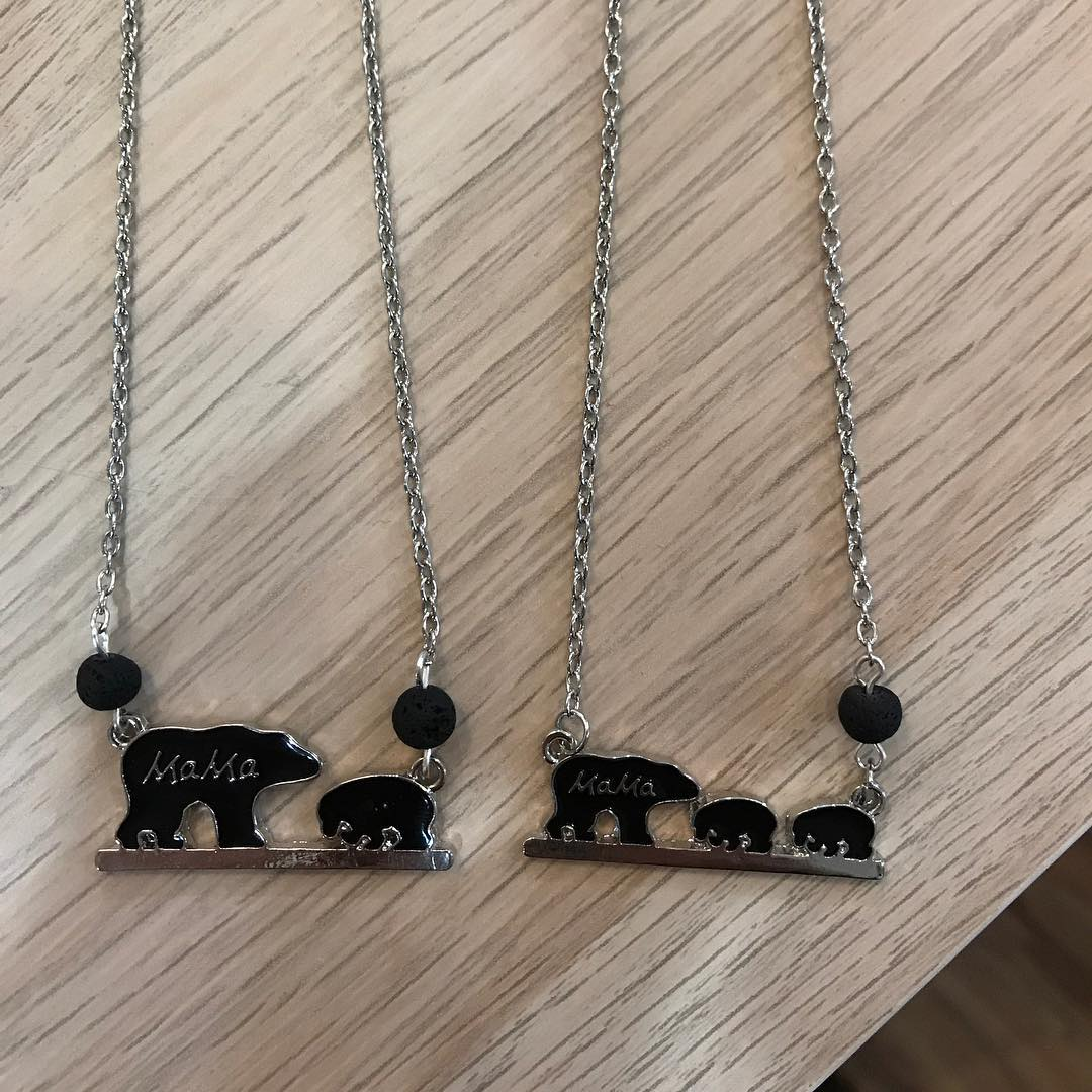 Lava Stone Mama and Cub Necklaces