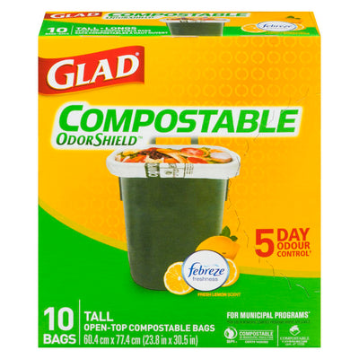 GLAD ODOR SHIELD BAGS TALL COMPOSTABLE FEBREZE 10 U