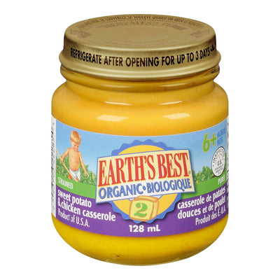EARTHS BEST BABY FOOD STRAINED SWEET POTATO CHICKEN ORGANIC 128 ML
