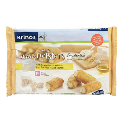 KRINOS MINI FILLO TWISTERS PIES FETA RICOTTA CHEESE 15S 484 G