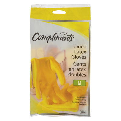 Compliments Lined MEDIUM Latex Gloves 1UN