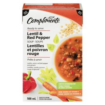 COMPLIMENTS SOUP LENTIL AND RED PEPPER 500 ML