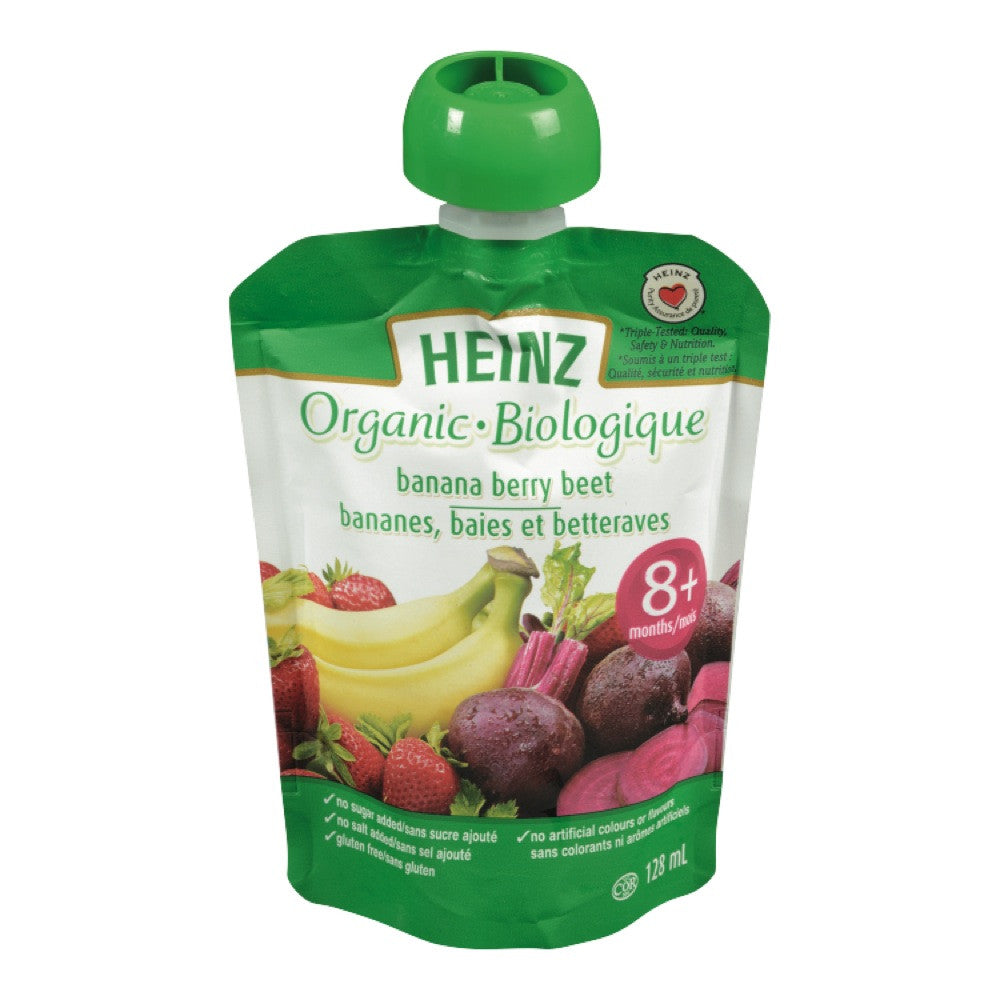 HEINZ ORGANIC BABY FOOD BANANA BERRY BEET 8+ 128 ML