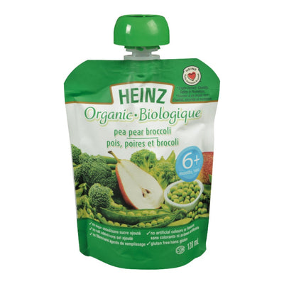 HEINZ ORGANIC BABY FOOD PEA PEAR BROCCOLI 6+ 128 ML