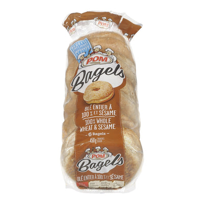 POM BAGELS WHOLE WEAT SESAME 6S 450 G