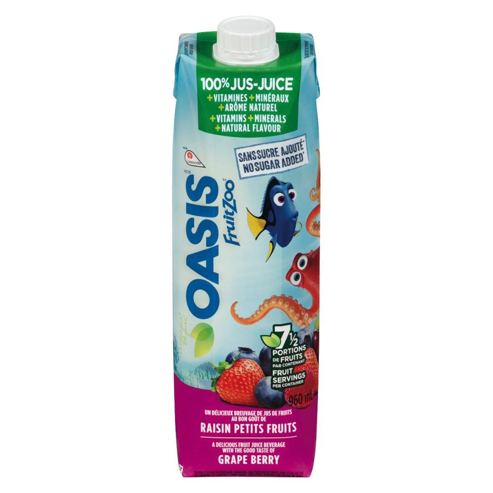 OASIS FRUIT ZOO JUICE NO SUGAR ADDED GRAPE BERRY 960 ML – Marché Nuvo
