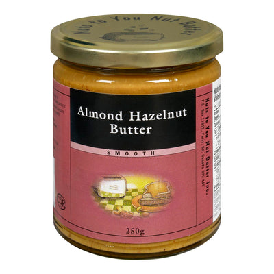 NUTS TO YOU NUT BUTTER INC BUTTER ALMOND HAZELNUT 250 G