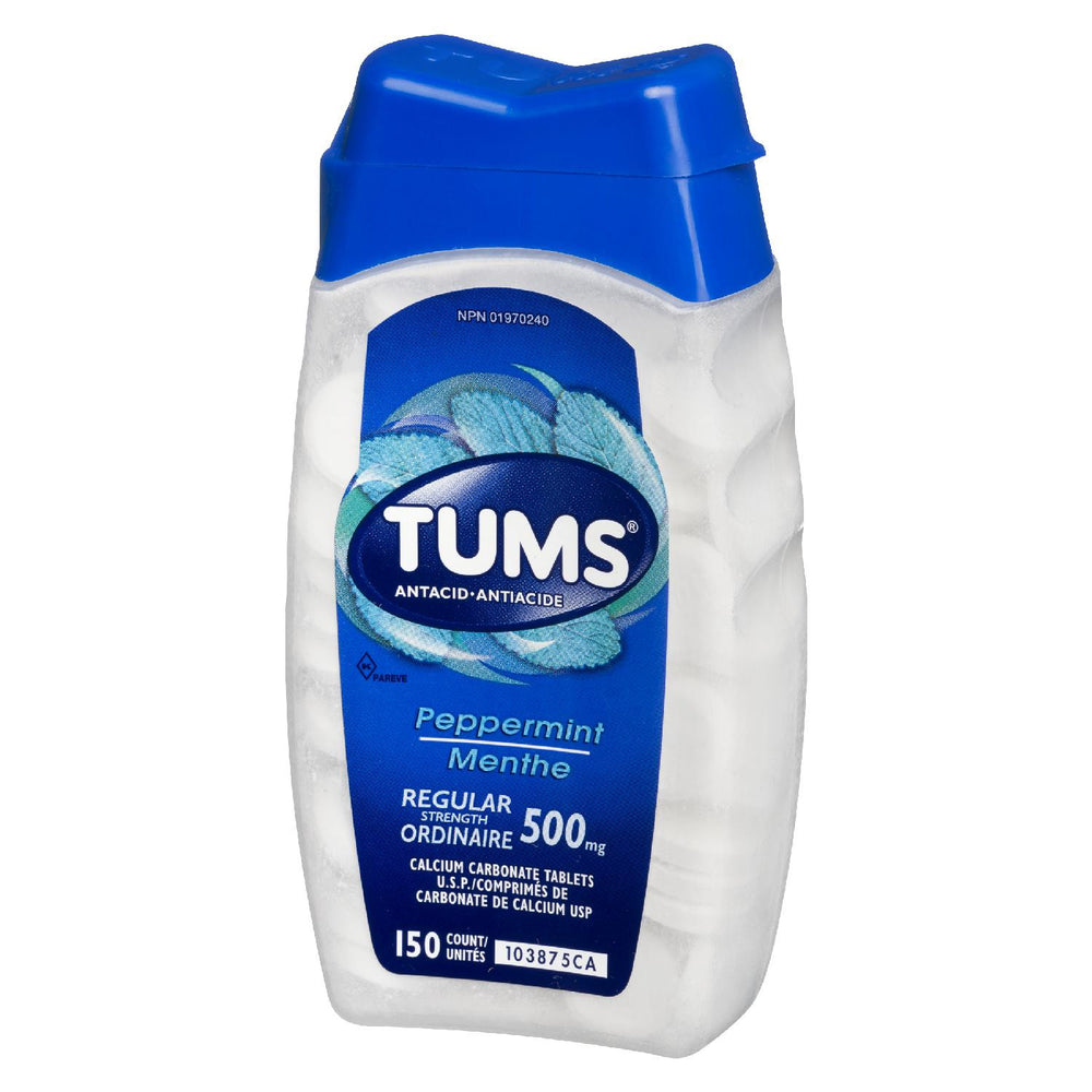 TUMS ANTACID PEPPERMINT 500MG REGULAR 150 U