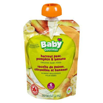 BABY GOURMET BABY FOOD PEAR PUMPKIN BANANA ORGANIC 128 ML