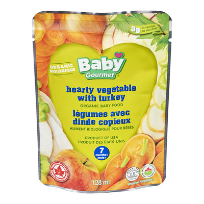 BABY GOURMET BABY FOOD HEARTY VEGETABLES TURKEY ORGANIC 128 ML
