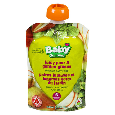 BABY GOURMET BABY FOOD PEAR GARDEN GREENS ORGANIC 128 ML