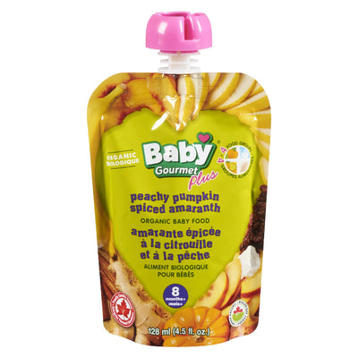 BABY GOURMET PLUS BABY FOOD PEAR PUMPKIN PRUNE ORGANIC 128 ML
