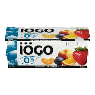 IOGO STRAW/BLUE/PEACH/ORNG-MANDARIN YOGURT 0% FAT 16X100 G