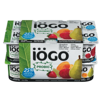 IOGO PROBIO YOGURT 2.5% STRAWBERRY RASPBERRY PEAR APRICOT LEMON LIME 12 x 100 G