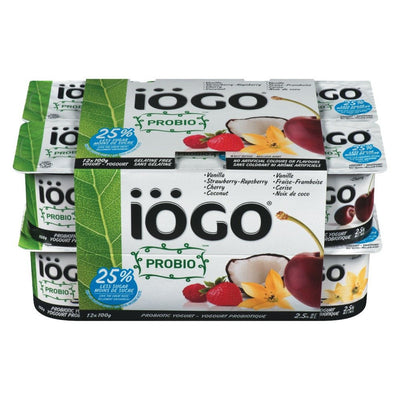 IOGO PROBIO YOGURT 2.5% VANILLA STRAWBERRY RASPBERRY CHERRY COCONUT 12 x 100 G
