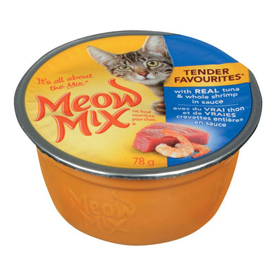 MEOW MIX TENDER FAVOURITES CAT FOOD TUNA WHOLE SHRIMP 78 G