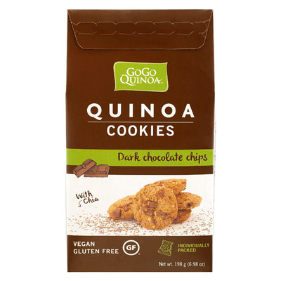 GOGO QUINOA COOKIES DARK CHOCOLATE CHIPS GLUTEN FREE VEGAN 198 G