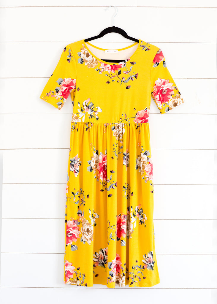 Knit Floral Midi Dress--Yellow