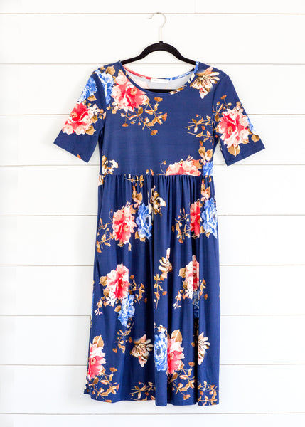 Knit Foral Midi Dress-Navy