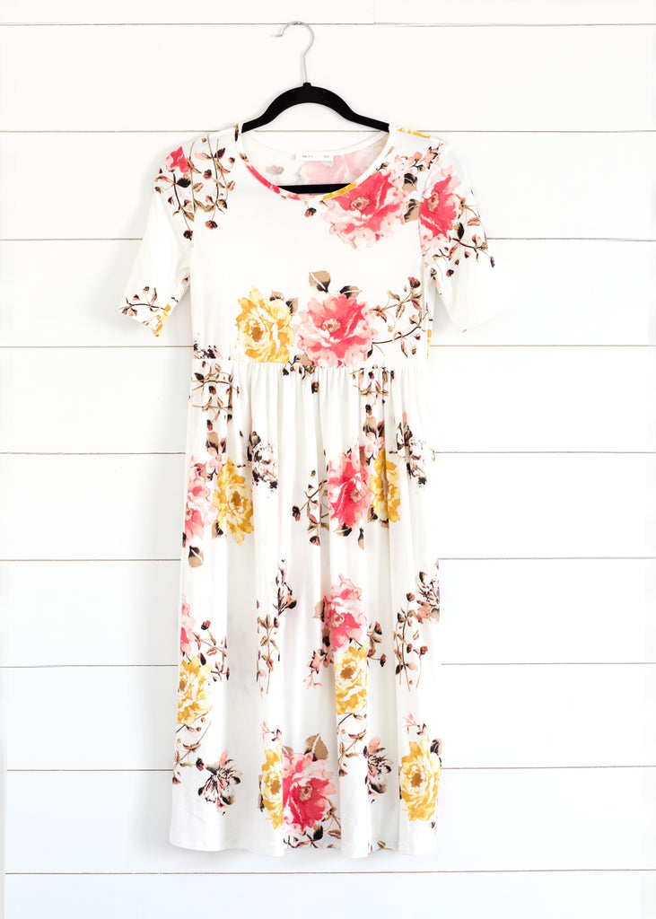 Knit Floral Midi Dress-White