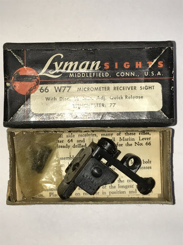 Winchester 77 Lyman 66 receiver sight, new, no aperture