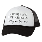 Excuses Trucker Hat, White/Black - Karter Collection x MCE Apparel