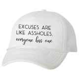 Excuses Trucker Hat, White - Karter Collection x MCE Apparel