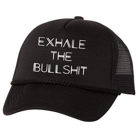 Exhale the Bullshit Trucker Hat, Black - Karter Collection x MCE Apparel