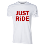 Just Ride Unisex Tee, White/Red - MCE Apparel