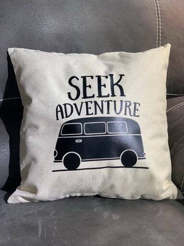 Seek Adventure Throw Pillow, Khaki - MCE Apparel