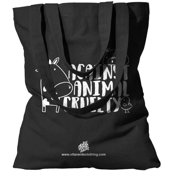 """Against Animal Cruelty"" Tote Bag (Black)"
