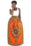 Bold Print Maxi Skirt with Pockets (Orange)