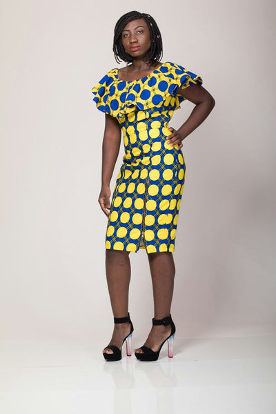 Anna Yellow and Blue Dress - AnnaTeiko Designs