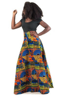 Patchwork A line Maxi Skirt w/ pockets