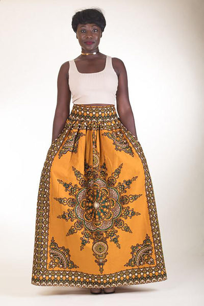 Yellow and Brown Maxi Skirt