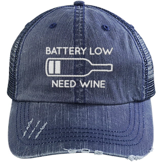 Battery Low - Distressed Trucker Cap (Mesh Back)