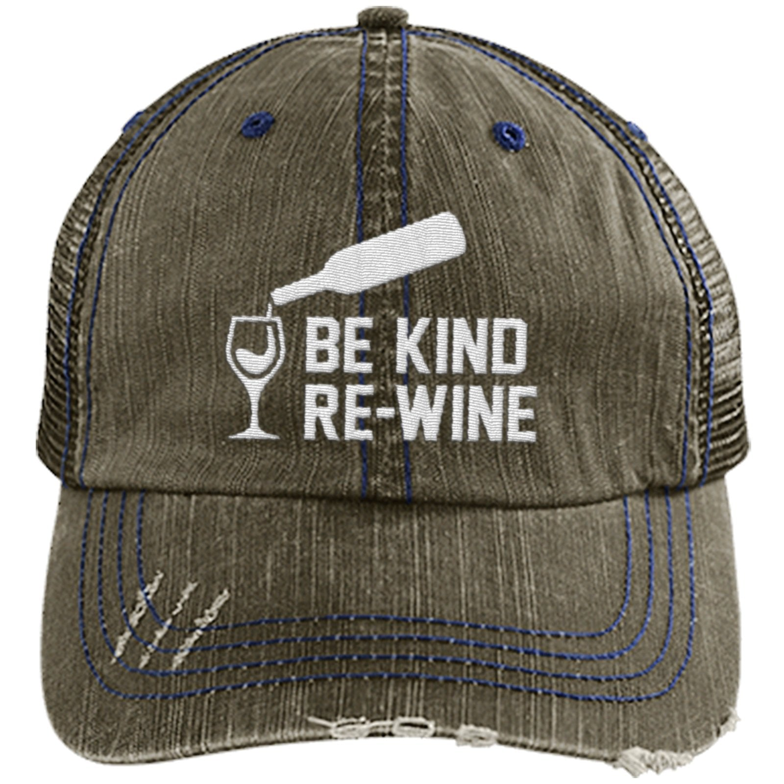 Be Kind Re-Wine - Distressed Trucker Cap (Mesh Back)