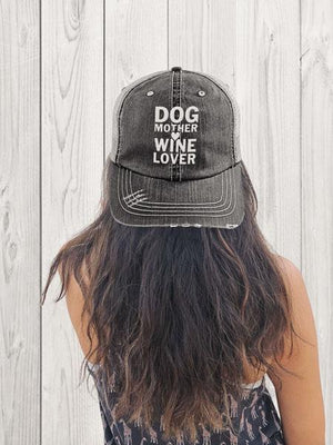 DOG MOTHER WINE LOVER - DISTRESSED TRUCKER CAP (MESH BACK)
