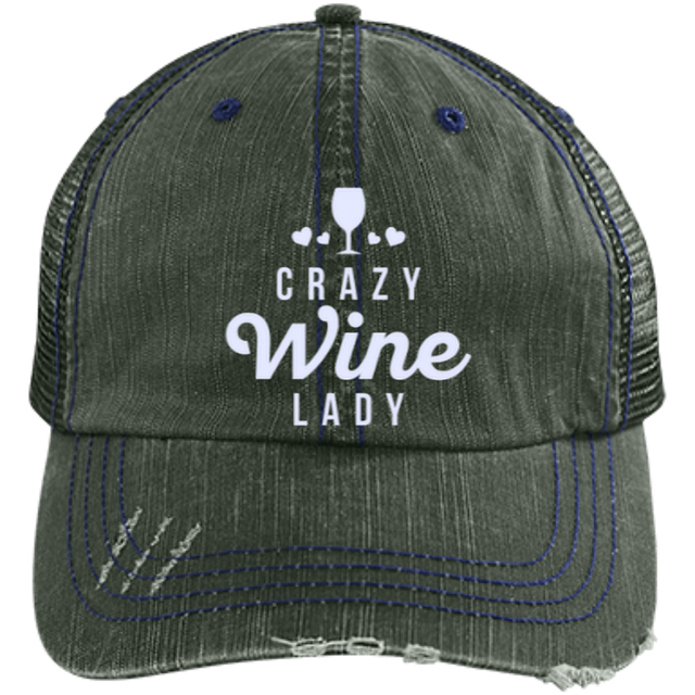 Crazy Wine Lady - Distressed Trucker Cap (Mesh Back)