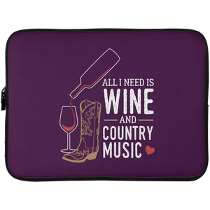"Wine and Country Music 15"" Laptop Sleeve"