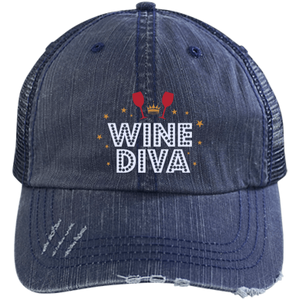 Wine Diva Distressed Trucker Cap (Mesh Back)