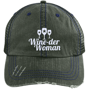 Wine-der Woman Distressed Trucker Cap (Mesh Back)