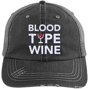 Blood Type Wine - Distressed Trucker Cap
