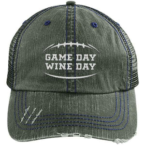 Game Day Wine Day - Distressed Trucker Cap (Mesh Back)