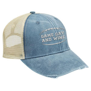 Game Day and Wine - Distressed Trucker Cap