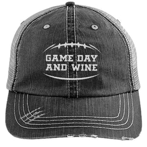 Game Day and Wine - Distressed Trucker Cap (Mesh Back)