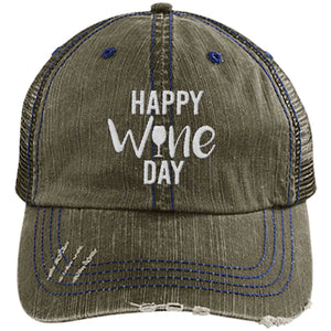Happy Wine Day - Distressed Trucker Cap (Mesh Back)