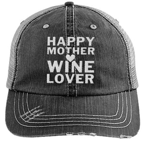 HAPPY MOTHER WINE LOVER - DISTRESSED TRUCKER CAP (MESH BACK)