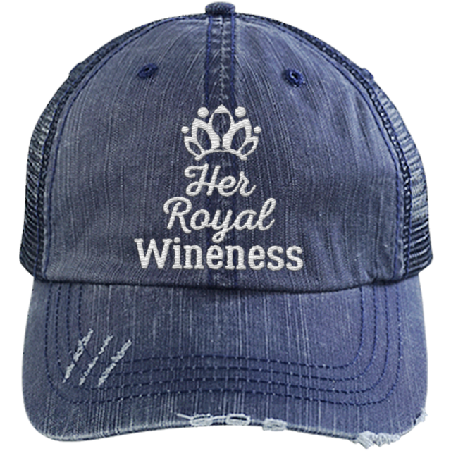 Her Royal Wineness - Distressed Trucker Cap (Mesh Back)