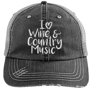 I Love Wine and Country Music - Distressed Trucker Cap (Mesh Back)